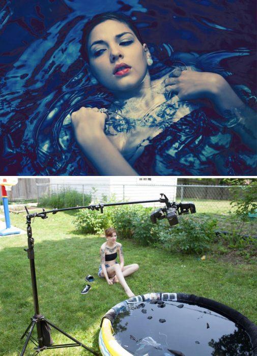 truco de fotografía de agua en alberca para niños