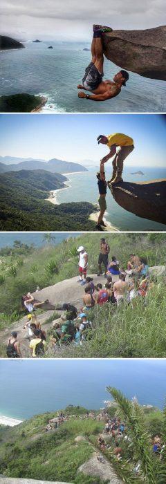 truco de fotos en roca que parece peligrosa