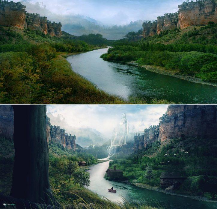 edición de fantasía en un paisaje