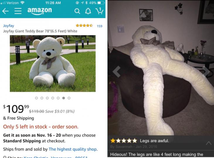 expectativa vs realidad, oso gigante