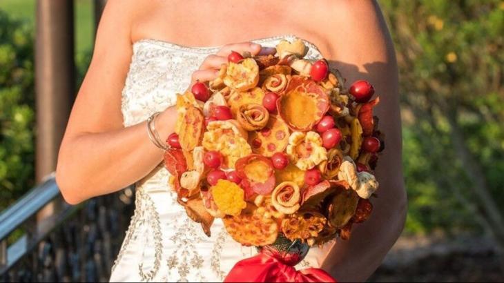 ramo de pizza para novia