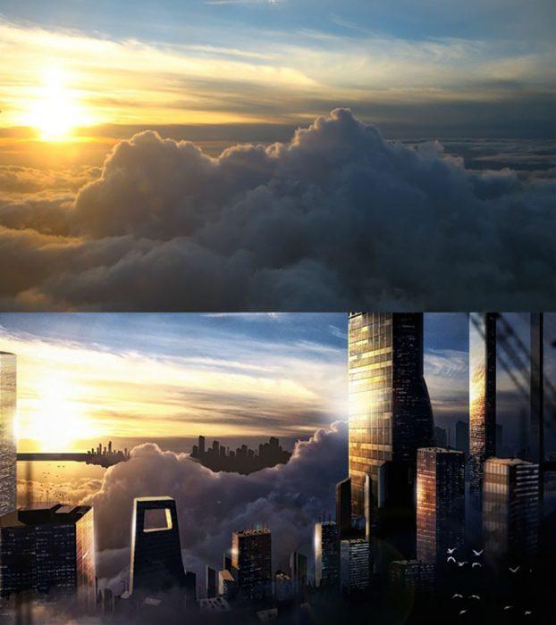 photoshop de nubes y rascacielos