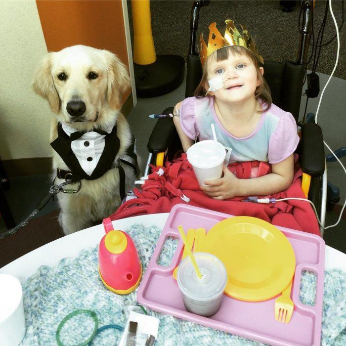 perrito de servicio y niña con cáncer tomando el té