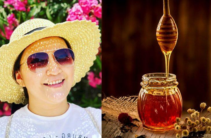 chica con sombrero y miel