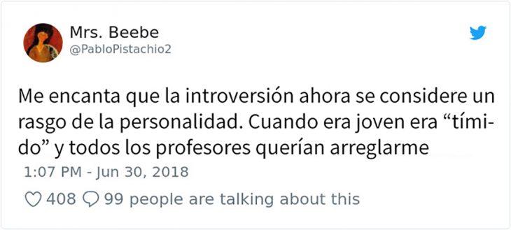tuit sobre introversión