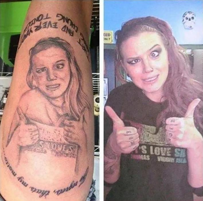 tatuaje mal hecho de chica haciendo muecas