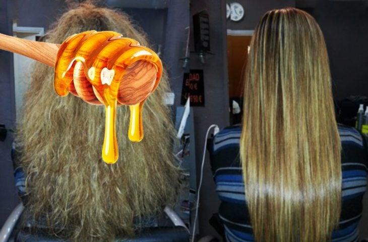 cabello antes y después de sanar y miel