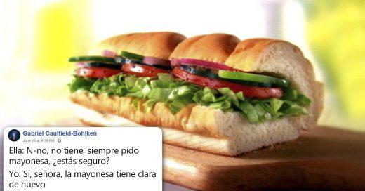 Cover Un empleado de Subway le explicó a una vegana que la mayonesa tenía huevo