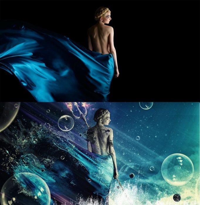photoshop de mujer bajo el mar