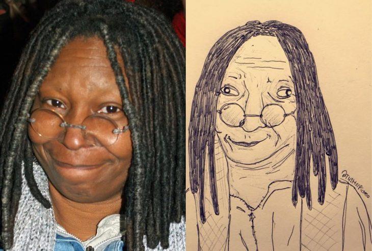 retrato feo de Whoopi Goldberg