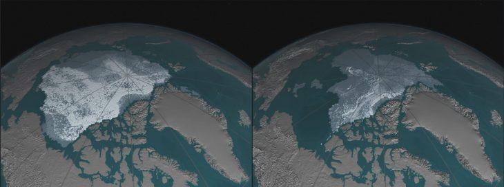 nivel de nieve en el Ártico