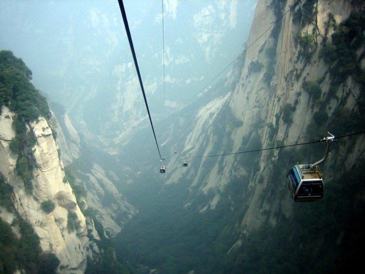 Teleférico que va al monte Hua, China