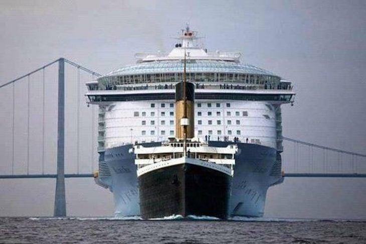 Titánic comparado con un crucero moderno