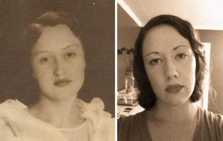 bisabuela y bisnieta; tomada con 80 años de diferencia