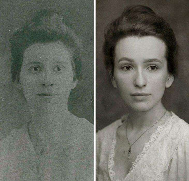 Bisnieta recrea la foto de su bisabuela