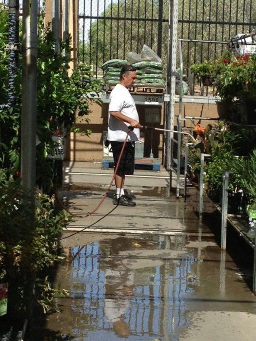 señor se puso a regar las plantas secas, no es un empleado de la tienda