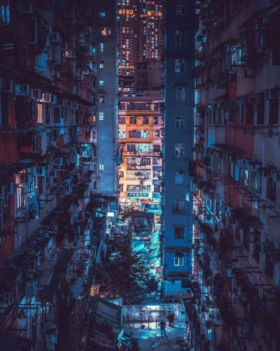 ilusión óptica edificios