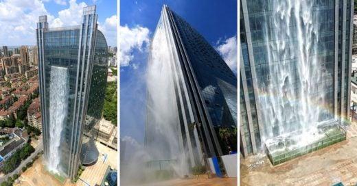 Cover Crean una cascada de 108 metros en un rascacielos chino