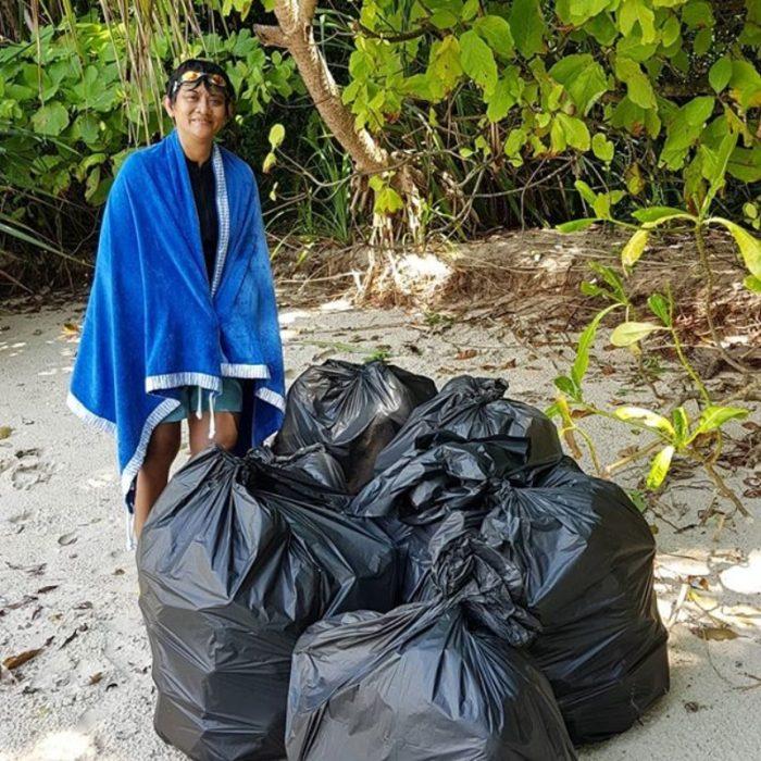 princesa de malasia con basura