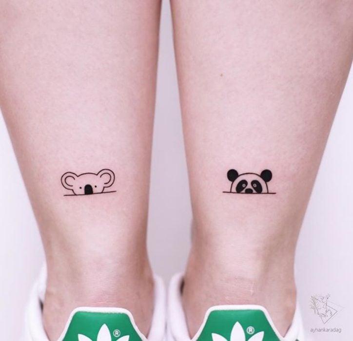 tatuaje de panda y koala