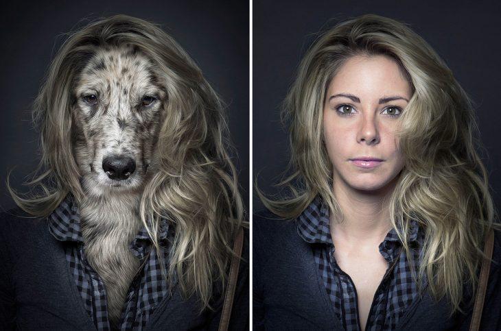 muchacha rubia y su perro vestidos igual