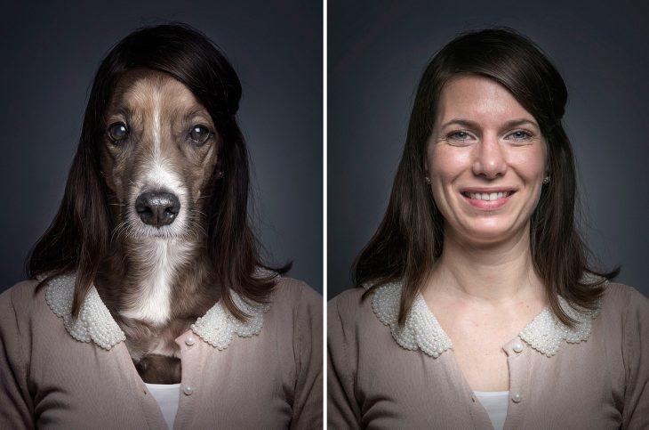 joven mujer y su perro vestidos igual