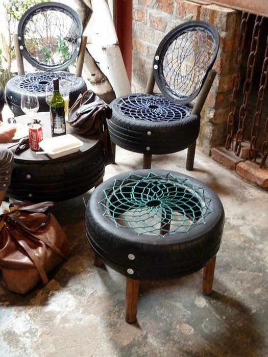 objetos reciclados neumáticos recreoviral.com