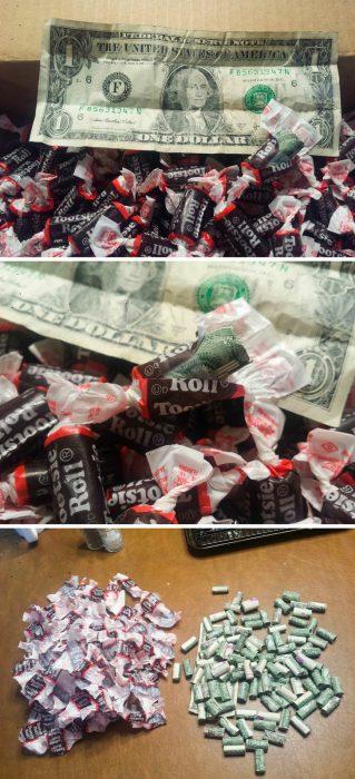 dinero en envoltura de dulces