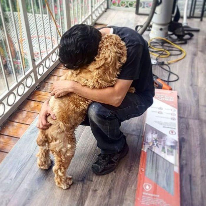 perrito abraza a humano