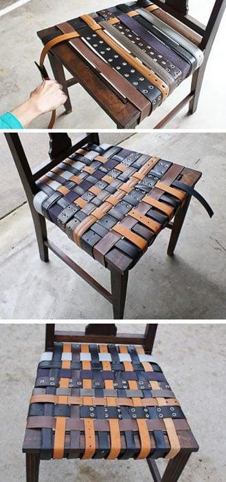 silla con cinturones viejos