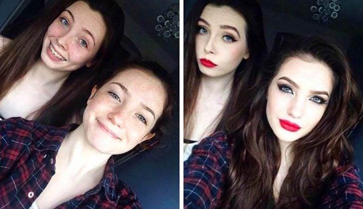 chicas antes y después de maquillarse