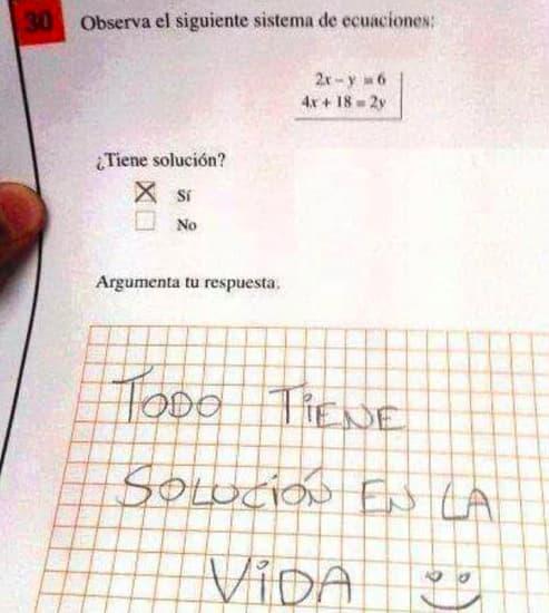niños respuestas creativas estudiantes examen