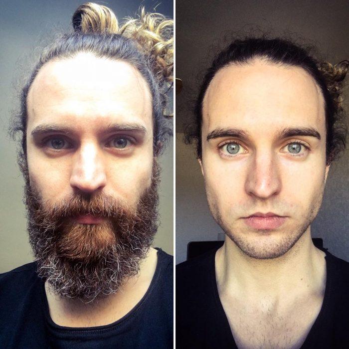 Antes y después de la barba