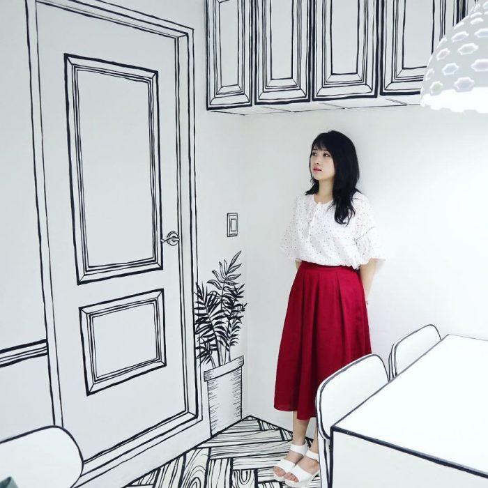 muchacha falda roja
