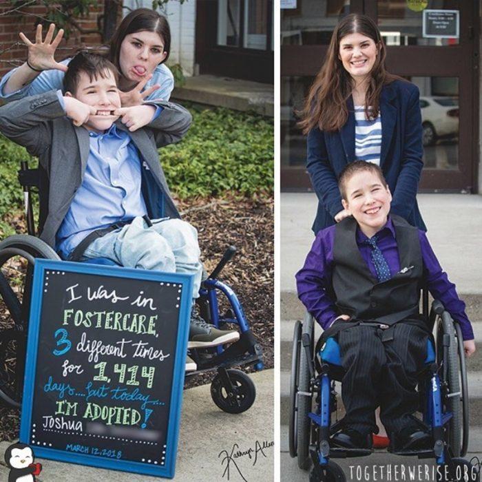 niño discapacitado adoptado