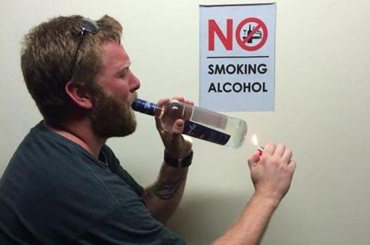 fumando alcohol