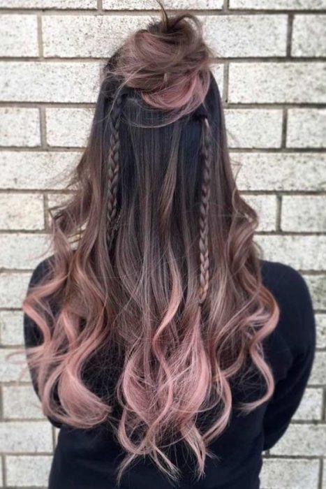 Cabello dusty con ombre rosa