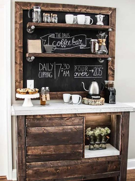 estación de café pintura para pizarra