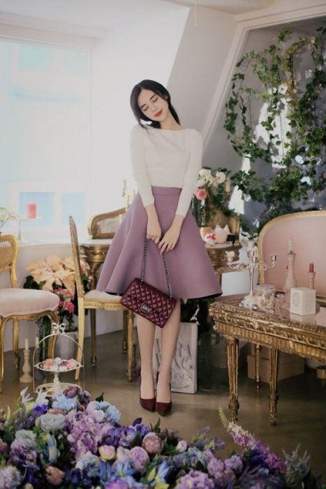 falda color lavanda