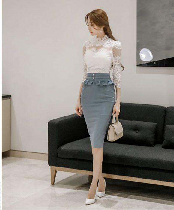 falda lapiz coreana