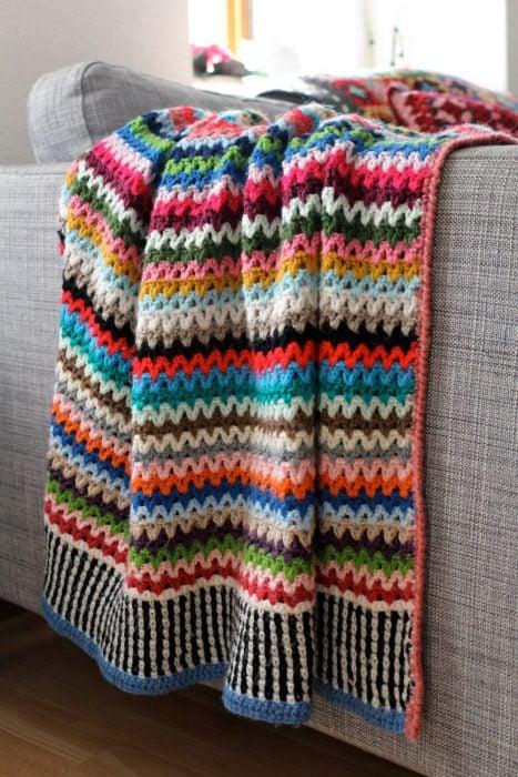 mantas tejidas estambre
