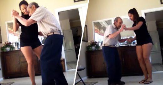 Cover video de una joven bailando con su abuelo