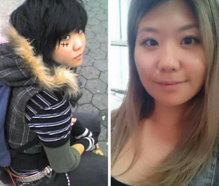 mujer emo antes y después