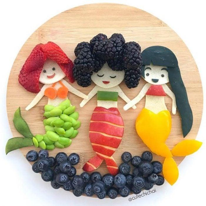 sirenitas hechas de fruta