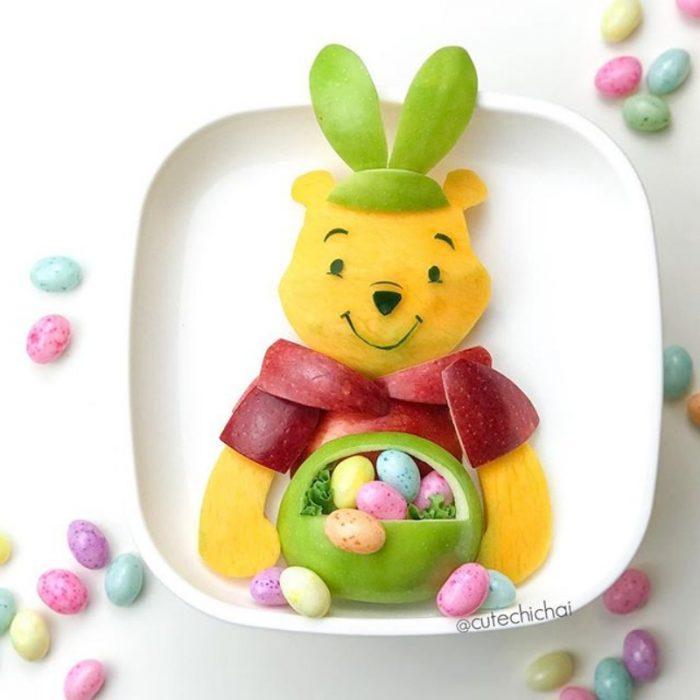 Winnie the Pooh hecho de frutas