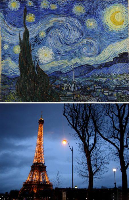noche estrellada y torre eifeil