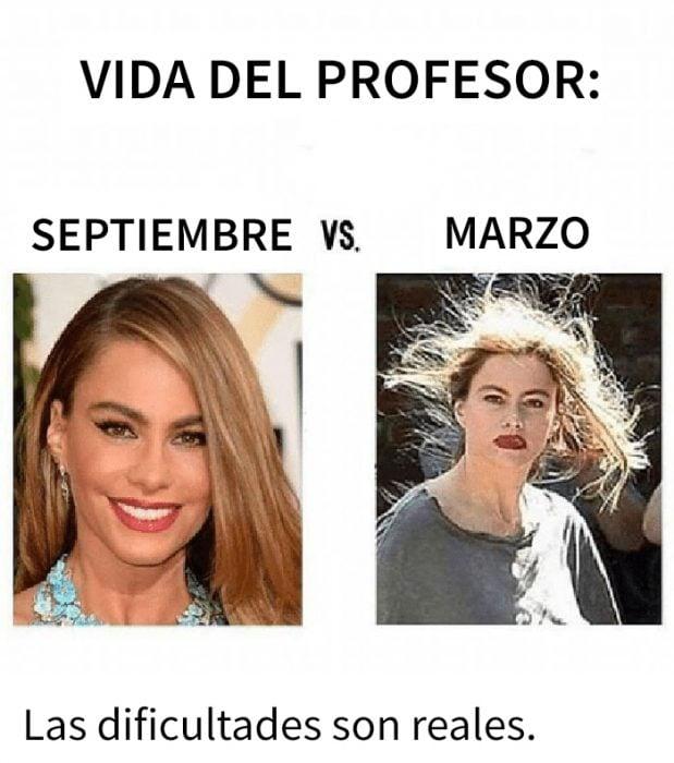 meme septiembre vs marzo profesores