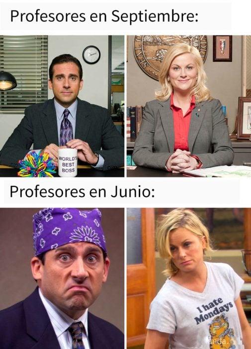 meme profesores en septiembre y en junio