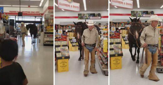 Cover Señor llega a tienda de autoservicios en caballo y lo dejan pasar