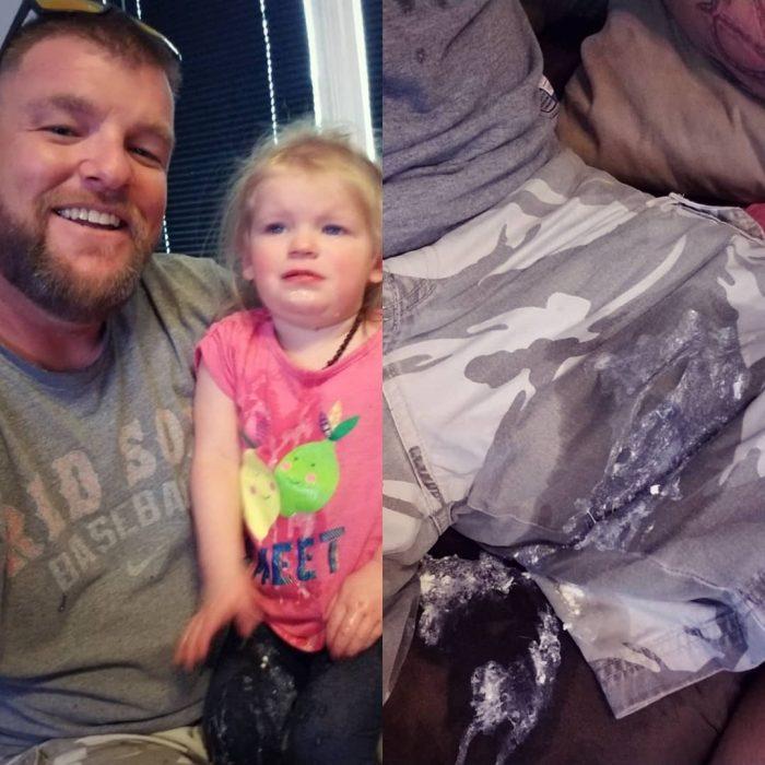 papá y niña vomitada